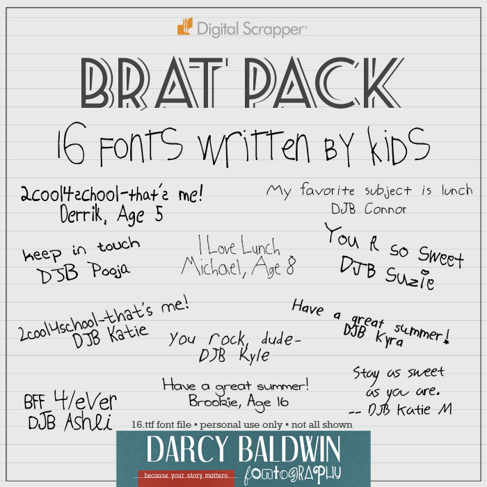 Brat Pack - a pack of 16 handwritten fonts for kids and by kids!