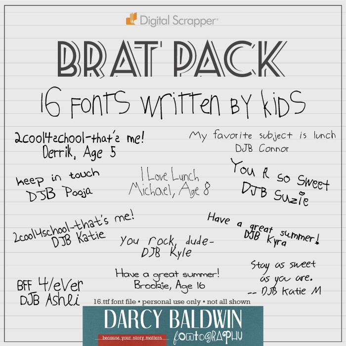 Download Brat Pack - Kid Fonts - Darcy Baldwin Fonts