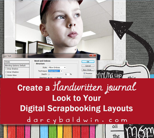 Create a handwritten journal feel to your digital scrapbooking layouts by Darcy Baldwin {fontography} on the Creating Keepsakes Blog | http://www.creatingkeepsakesblog.com/blog/2011/11/create-a-handwritten-feel-on-your-digital-layouts/
