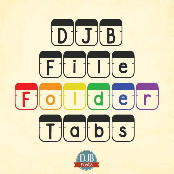 DJB File Folder Tab Font -- office supplies were never so fun as this! Make your own titles, product covers, tshirts and more with this fab font!