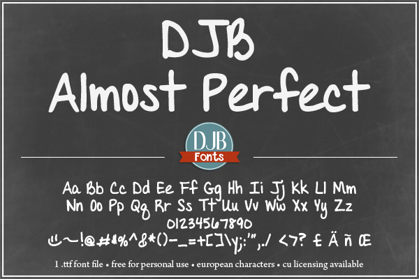 DJB Almost Perfect Font   Free font   journaling font   commercial license available   scrapbook font   teacher font (has a separate y for school teachers  