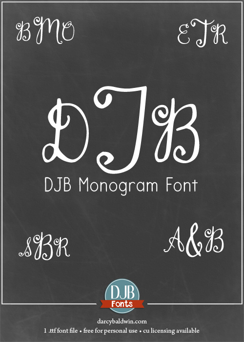 A simple, hand-drawn monogram font with numbers and punctuation. Perfect for wedding invitations, embroidery (special licensing required) and more! Available at darcybaldwin.com