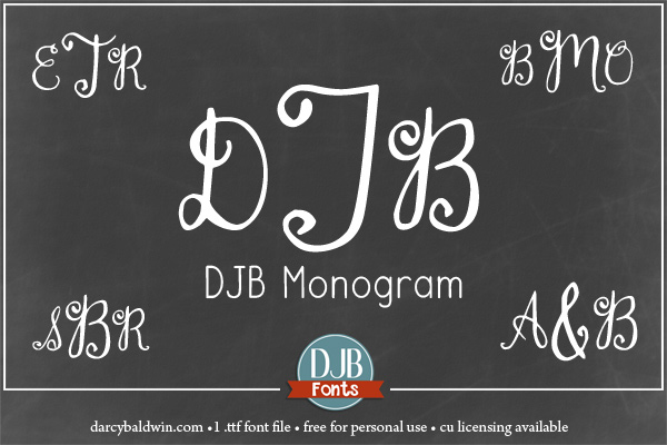 A simple, hand-drawn monogram font with numbers and punctuation. Perfect for wedding invitations, stationery, embroidery (special licensing required) and more! Available at darcybaldwin.com