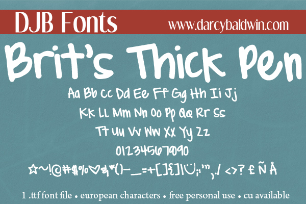 DJB Fonts | Brit's Thick and Thin Pens - perfect for boyfriend letters and slambooks.
