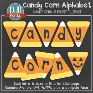 Candy Corn Alphabet / Clip-Art at Teachers Pay Teachers and DJB Fonts.