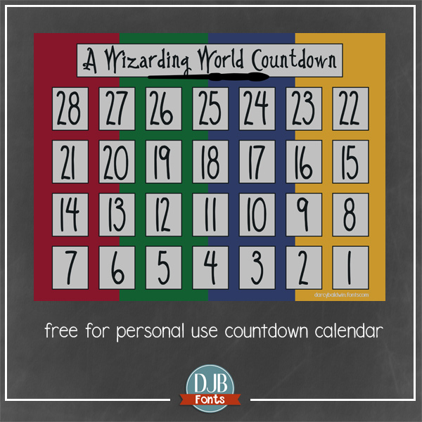 A Harry Potter inspired countdown calendar available at darcybaldwin.com