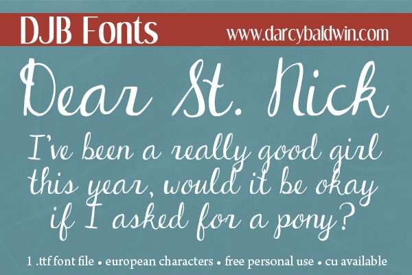 What a great font for Christmas letters! Get it free for personal use @ #DJBFonts !