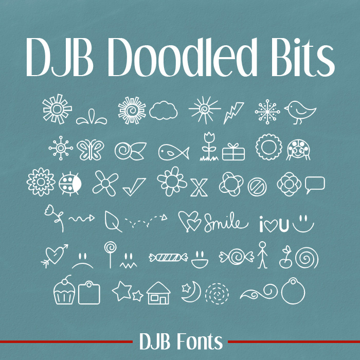 FREE FONT from Darcy Baldwin Fonts - Doodled Bits Dingbat Font