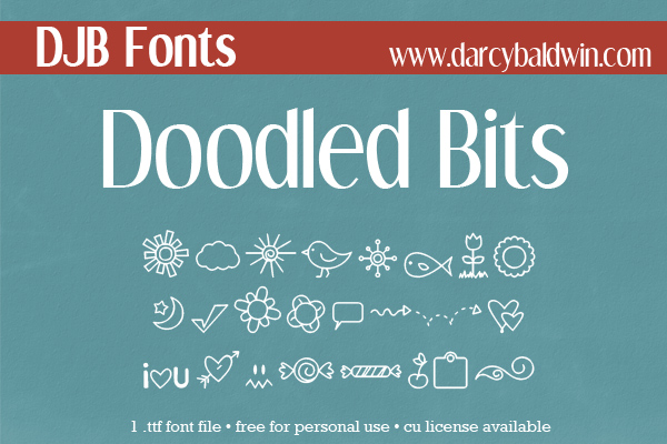 FREE FONT from Darcy Baldwin Fontography - Doodled Bits Dingbat Font