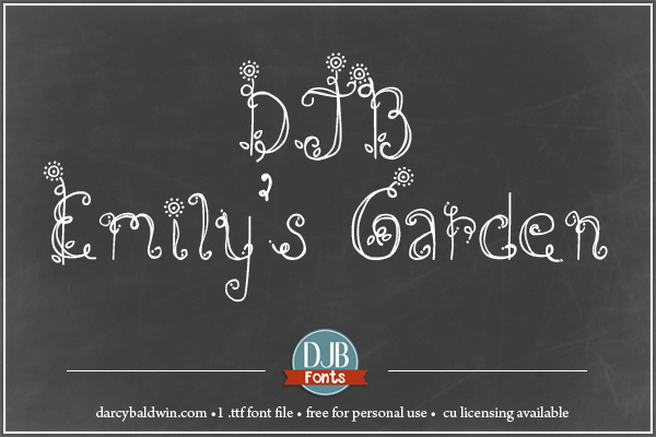DJB Emily's Garden - free flowery font with CU licensing available at djbfont.com