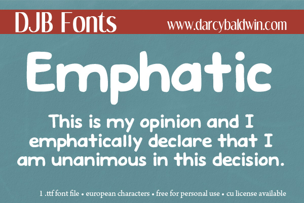 Emphatic, a bold journaling font available @ Darcy Baldwin {fontography} now. Download it today!