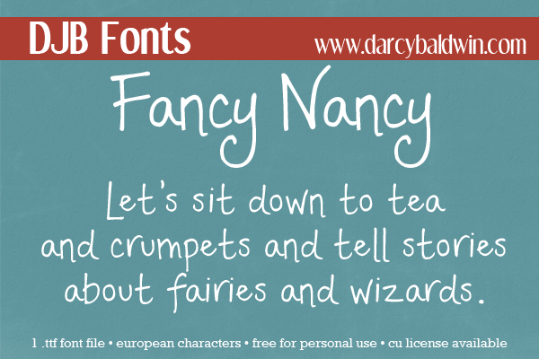DJB Fonts | A readable yet whimsical font perfect for storytelling. Contains European characters and is free for personal use (CU License available)