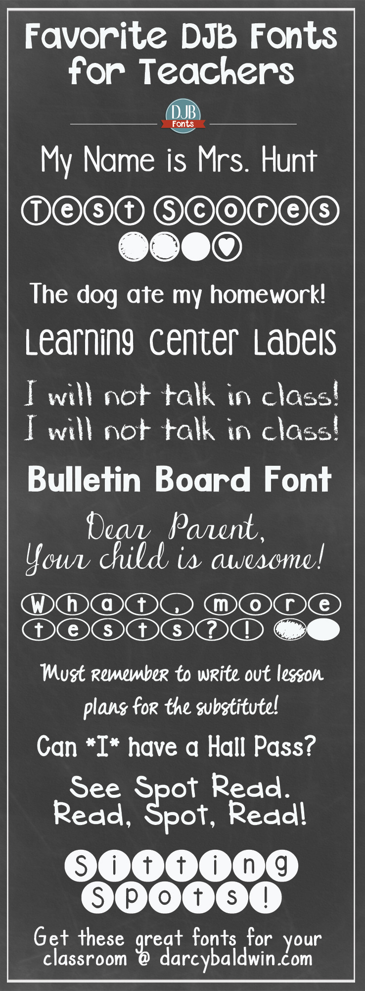 "Back to School is just around the corner!! Here are some free ""for the classroom"" fonts for teachers from DJB Fonts. Which are your favorite teacher fonts?"