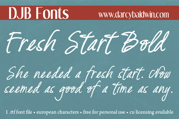 DJB Fresh Start font - Free for personal use, commercial licensing available. Includes European characters