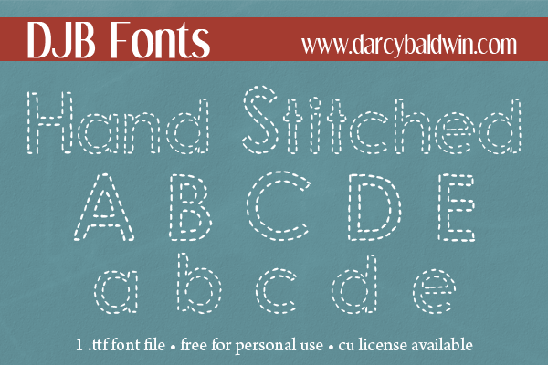 FREE FONT: Hand Stitched Alpha Font from DJB Fonts