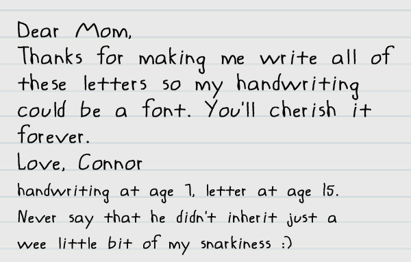 They grow up so fast, momma! Get their handwriting done today!