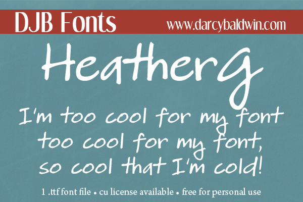 FREE FONT: HeatherG - free for personal use (CU license available) and perfect for scrapbooking and journaling!