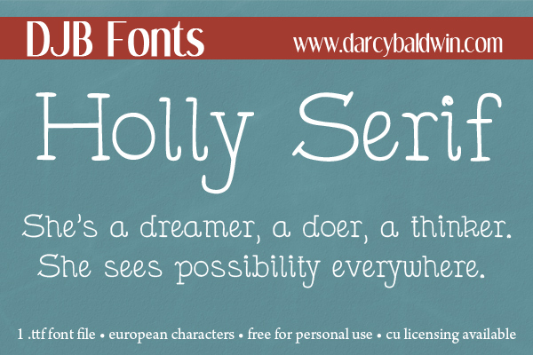 DJB Holly Serif  is a handwritten font with a typewriter feel while keeping a personal handwritten flair. It is free for personal use (not-for-profit) @ DJB Fonts.