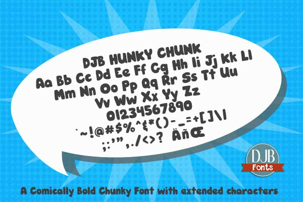 DJB Hunky Chunk - a comically bold free for personal use font from DJB Fonts.