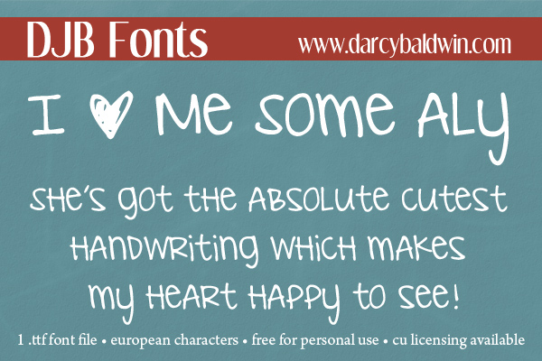 DJB Fonts - I Love Me Some Aly -- SO CUTE AND FREE!