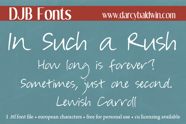 DJB In Such a Rush Free Font from DJB Fonts