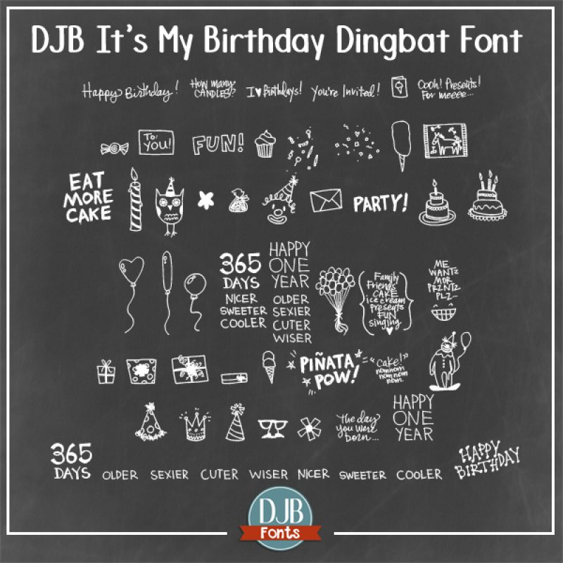 DJB It's My Birthday Font