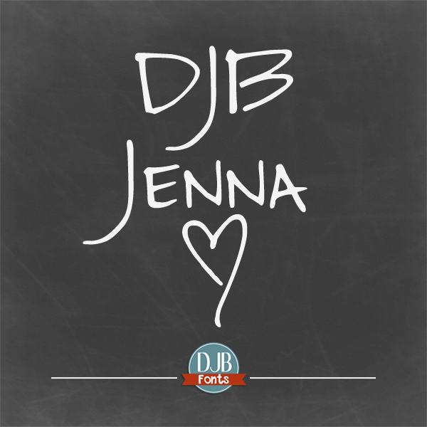 DJB Jenna Font – A versatile, unicase, hand drawn font that's perfect for text and displays as well as for invitations. It contains European language characters and is free for personal use. A commercial license is available at DarcyBaldwin.com.