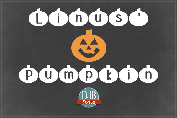 DJB Linus' Pumpkin Font - a cute seasonal pumpkin font that's perfect for teaching materials and scrapbooks! Available at darcybaldwin.com