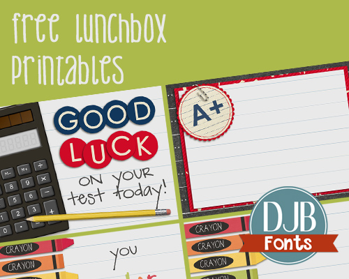 "Free Lunchbox Printables! Leave little a little love and encouragement in your child's lunchbox for days. Perfect for testing days, big events and just to say, ""I'm here for you!"" Links to other fab printables, too!"
