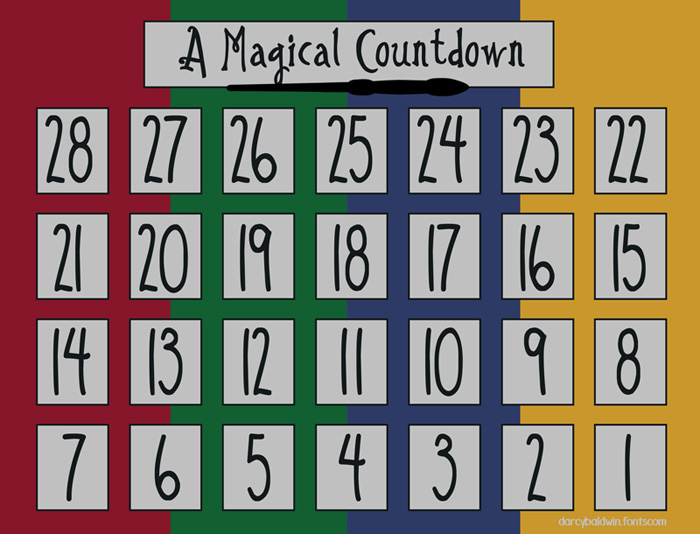 photo about Printable Countdown Calendar Template referred to as Magical Printable - Darcy Baldwin Fonts
