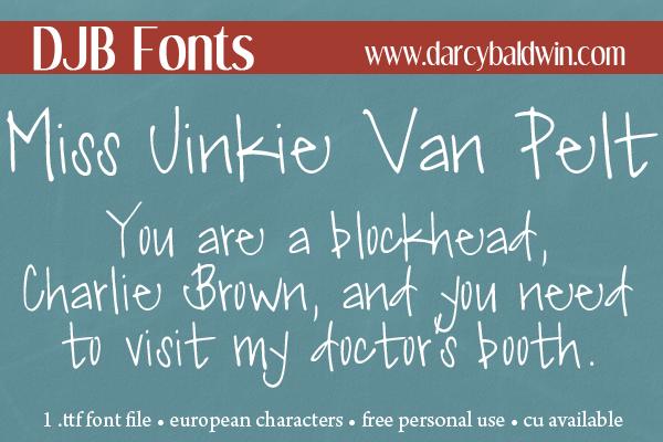DJB Miss Jinkie Van Pelt Font - Get this funky, personal use font for free @ DJBFonts!