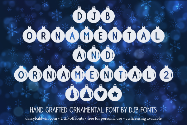 DJB Ornamental Font - decorate your virtual tree with fantastic ornaments from DJB Fonts. Free for personal use; commercial licensing available.