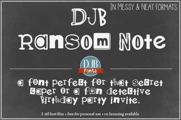 DJB Ransom Note Font = This font is PERFECT a secret caper, a detective story or a fun hide and seek birthday party invitation. Find it at darcybaldiwn.com