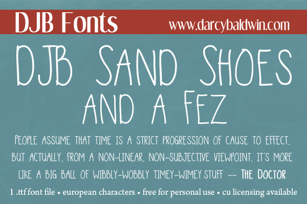 DJB Sand Shoes and a Fez - an homage to Doctor Who. Free for personal use, CU licensing available - from DJB Fonts. #djbfonts #doctorwho