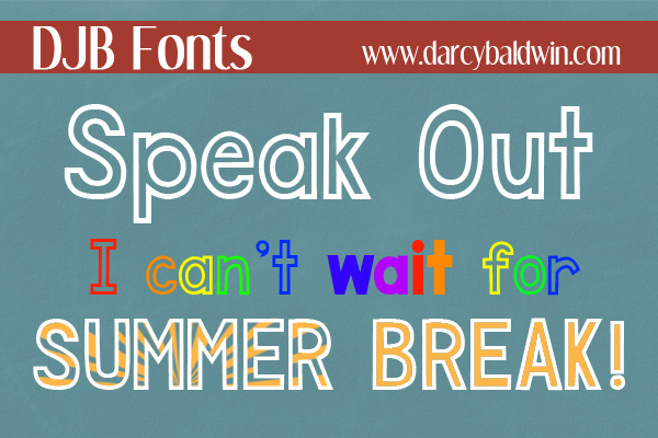 DJB Speak Out Font - awesome new outline font available for free personal use from DJB Fonts!