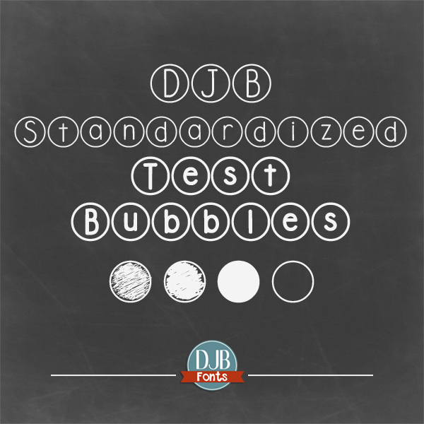 DJB Standardized Test Bubble Font -- PENCILS DOWN! TEST OVER! A font for teachers to create practice test sheets, or just a fun circle font for everyone else! Free for personal use - commercial licensing at DJB Fonts.
