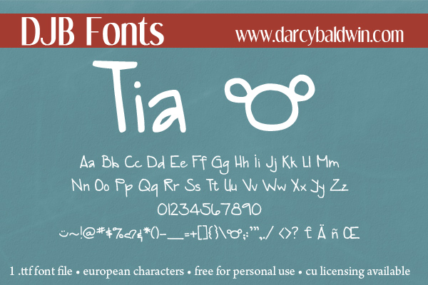DJB Tia -- A surprisingly fun font that is chalk full of personality and free for personal use from DJB Fonts!