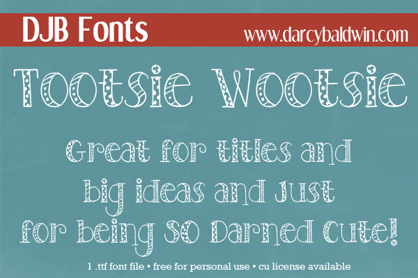 """Perfectly cute font from DJB Fonts! It's free for personal use and comes with a bonus """"bold"""" solid, slighly messy version."""