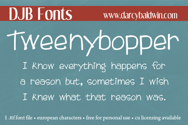 DJB Tweenybopper is a child-like yet funky font perfect for children's marketing, curriculum and more! Available @ DJB Fonts