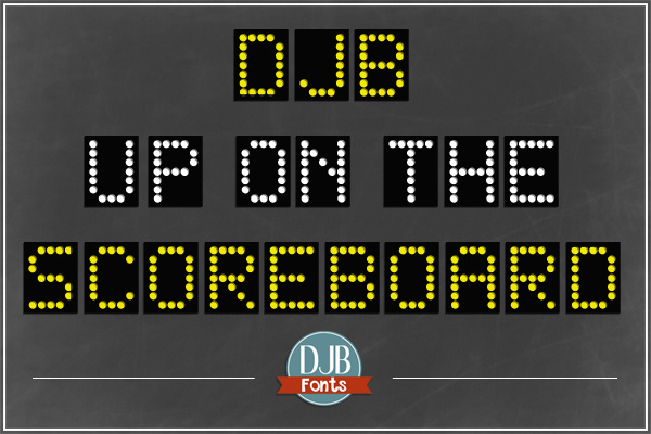 DJB Up on the Scoreboard Font - great for those sports scrapbook pages, ads and teaching materials. Free for personal use; commercial licensing available at darcybaldwin.com