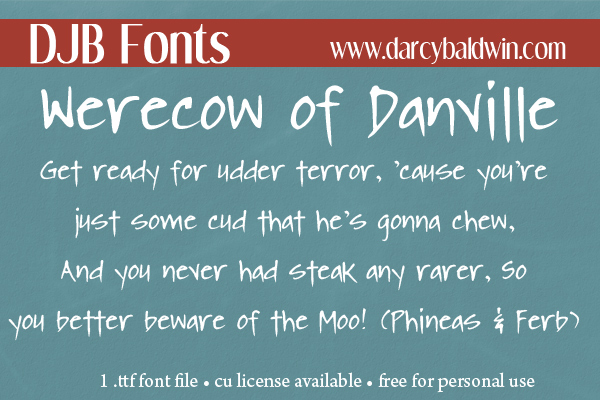 DJB Fonts | The Were-cow of Danville, the spooky-ookiest cow on the planet! If you're a fan of Candy Night or a fan of Phineas & Ferb - this font is perfect for you!