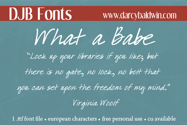 An amazingly easy to read scripted hybrid font that is great for accent title work, journaling and a look that is perfect for taglines. Free for personal use, commercial license available @ DJB Fonts
