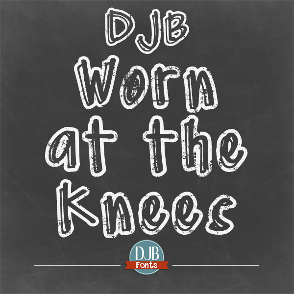 DJB Worn at the Knee, a free font for personal use that looks a little chalky, a little bit like a messed up, rub-on alphabet sticker, and a lot like the coolest font you might use this week!
