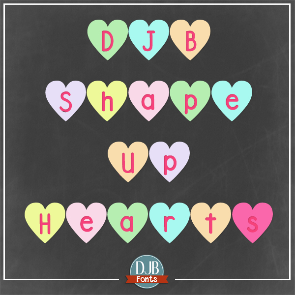 Have a textual conversation with those you love with DJB Shape Up Hearts - a free for personal use font from DJB Fonts! Great for Valentine's Day, school projects, classrooms and more!